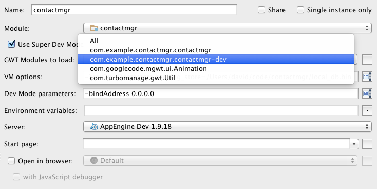 Configure IntelliJ to use the dev-only GWT module